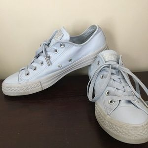 Baby blue leather converse size 9